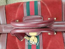 Rare Gucci Train Case Vanity Vintage Overnight Cosmetic Travel Case Red Suede