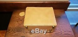Rare New Vintage Genuine Shortrip Tan Leather Cosmetic Train Case Luggage USA