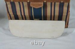 Rare! Unique French Luggage Striped Suede Tapestry Jewelry / Makeup Train Case