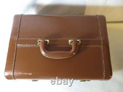 Rare Vintage 40's Gold Bond Leather Train Case Make Up Luggage With Vanity Tray