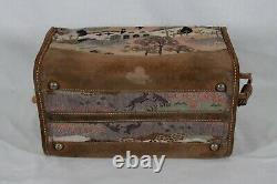 Rare! Vintage French Luggage Co Countryside Suede Tapestry Train / Makeup Case