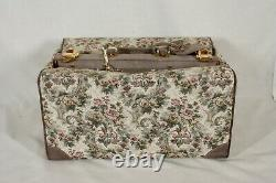 Rare! Vintage French Luggage Gray Rose Suede Tapestry Large Train Makeup Case