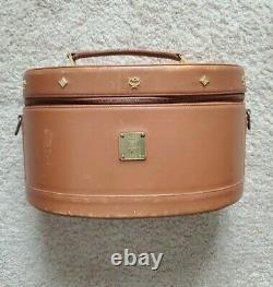 Rare Vintage MCM Train Case Travel Beauty Makeup Toiletry Bag Brown Leather Used