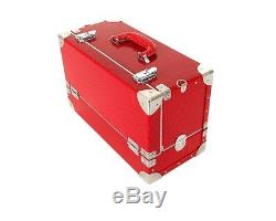 Red Makeup Box Train Case Medium Size 3 Tray For Professional Nail Case