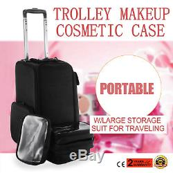 Rolling Aluminum Makeup Case with4 Wheels Artist Cosmetic Organizer Box Awesome