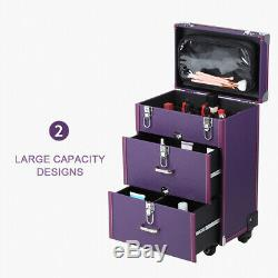 Rolling Aluminum Makeup Train Case Cosmetic Case Trolley Drawer Lock Black Wheel