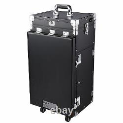 Rolling Aluminum Makeup Train Case Table Travel Trolley Cosmetic Organizer Box
