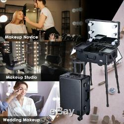 Rolling Cosmetic Makeup Case Salon 20 Storage Bulb Mirror Studio Beauty Counter