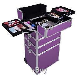 Rolling Cosmetic Makeup Cases 4 in 1 Aluminum Professional Artist Train Case