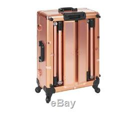 Rolling Makeup Artist Train Box with Lights Station Trolley Studio Wheeled Case