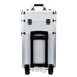 Rolling Makeup Case 3 in 1 Aluminum Professional Trolley Train Case Organizer Co