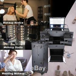 Rolling Makeup Case Cosmetic Lights Mirror Lockable Wheel Trolley Barber Studio