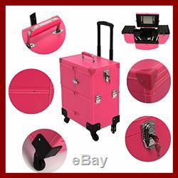 Rolling Makeup Case Leather Professional Nail Artist Beauty Makeup Train Case Tr
