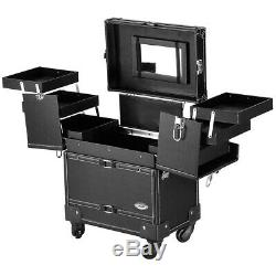 Rolling Makeup Case Lockable Cosmetic Train Storage Organizer 360° Wheel Black