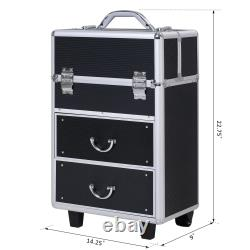 Rolling Makeup Case Train Cosmetic Jewelry Organizer with Drawers Black