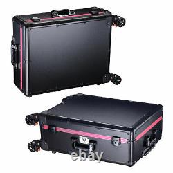 Rolling Makeup Case with LED Light Mirror Adjustable Leg Train Trolley Organizer