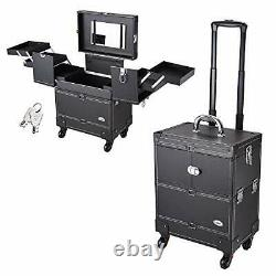 Rolling Makeup Train Case Artist Beauty Trolley Cosmetic Organizer Box Black