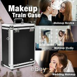 Rolling Makeup Train Case Box Cosmetic Jewelry Comestic Drawers Salon Organizer