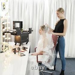 Rolling Makeup Train Case Cosmetic Organizer Jewelry Box Trolley Mirror Lockable
