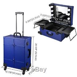 Rolling Makeup Train Case LED Light Mirror Cosmetic Trolley Travel Organizer Box