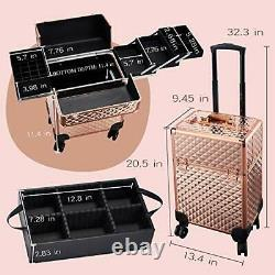 Rolling Makeup Train Case Large Storage Cosmetic Trolley 4 Tray with Rose Gold