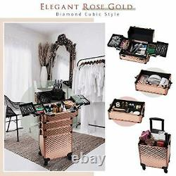 Rolling Makeup Train Case Large Storage Cosmetic Trolley 4 in 1 Rose Gold
