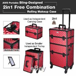 Rolling Makeup Train Case Professional Cosmetic Beauty Travel Vanity Organizer