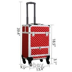 Rolling Makeup Train Case Professional Cosmetic Travel Bag Vanity Organizer Red