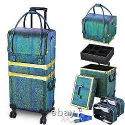 Rolling Makeup Train Case Travel Storage Lockable Cosmetic Salon Trolley Wheels