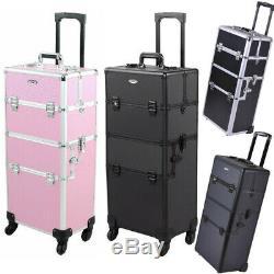 Rolling Makeup Trolley Train Case Pro Beauty Cosmetic Aluminum Storage Organizer