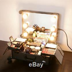 Rolling Studio Makeup Case Artist Cosmetic LED Light Adjustable Leg Mirror Gift