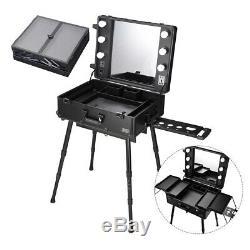 Rolling Studio Makeup Case LED Light Cosmetic Mirror Organizer Adjustable