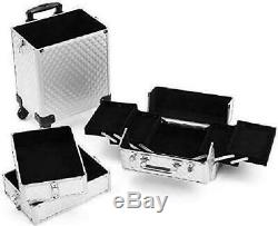 Rolling Train Case 4-In-1 Portable Professional Cosmetic Makeup Travel Case Alum