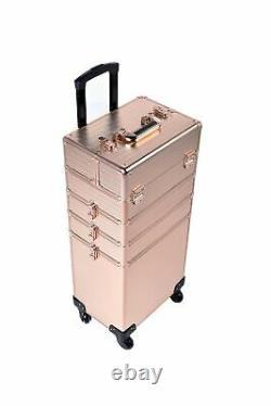 Rolling Train Case 4 in 1 Portable Case Professional Cosmetic Makeup Organizer