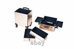 Rolling Train Case 4-in-1 Portable Makeup Train Case Professional Cosmetic Or
