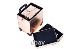 Rolling Train Case 4-in-1 Portable Makeup Train Case Professional Cosmetic case
