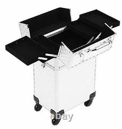 Rolling Train Case 4-in-1 Portable Professional Cosmetic Makeup Travel Case