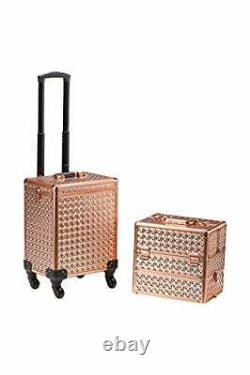 Rolling Train Case 4-in1 with extra lid Portable Makeup Train Case Profession