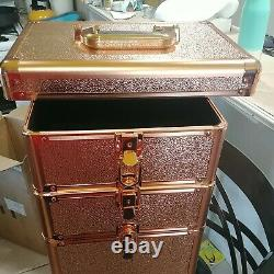 Rolling Train Case 5-In-1 Portable Makeup Train Case Professional Cosmetic Organ