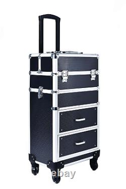 Rolling Train Case with Drawers Makeup Rolling Train Case Cosmetic Organizer Mak
