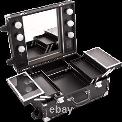 Rolling Train Makeup Case Cosmetic Organizer with Lights