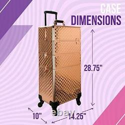 Rose Gold Diamond 4-Wheels Detachable Professional Rolling Aluminum Cosmetic