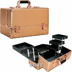 Rose Gold Dot 6-Tiers Accordion Trays Professional Cosmetic Makeup Train Case