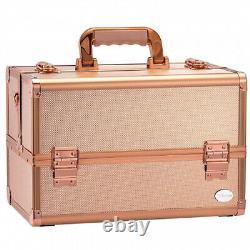 (Rose Gold) Joligrace Makeup Train Case Professional 34cm Portable Artist