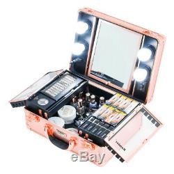 (Rose Gold) Kemier Makeup Train Case Cosmetic Organiser Box Makeup Case