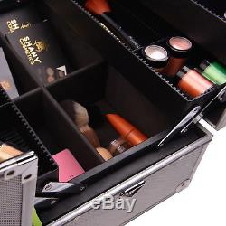 SHANY Essential Pro Makeup Train Case with Shoulder Strap and Locks Silver