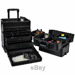 SHANY Rebel Trolley Cosmetics Case and Storage Pro MUA Train Case BLACK