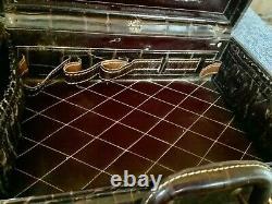 SHORTRIP Vtg faux alligator leather (cowhide) train travel makeup train case