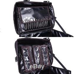 Salon Rolling Makeup Case Studio Artist Trolley Storage Organizer Train Box PU