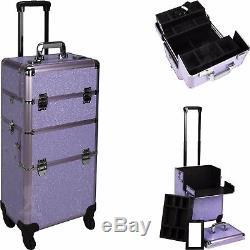 Salon Trolley Makeup 2 in 1 Professional Travel Purple Krystal Rolling Wheels
